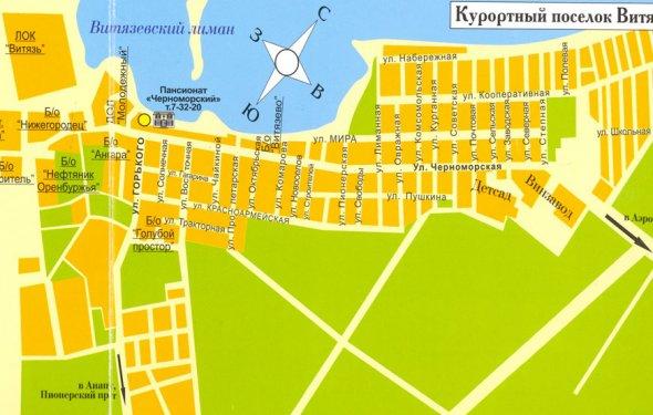 Подробная карта Витязево